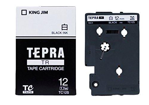 キングジム テプラ TR用テープカートリッジ 白ラベル TC12S ...