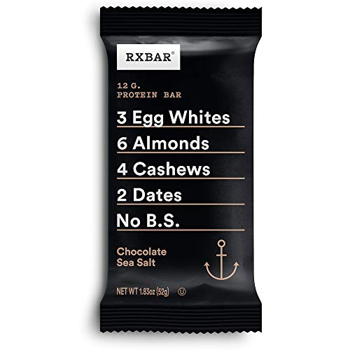 RXBAR, Chocolate Sea Salt, Protein Bar, 1.83 Ounce 12 count, (Pack of 1) High Protein Snack, Gluten Free