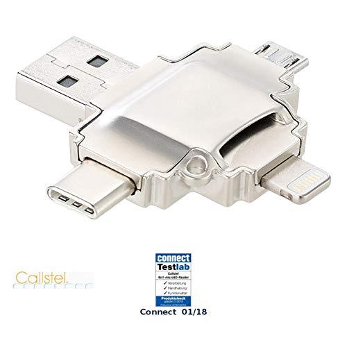 Callstel Adapter: microSD-Kartenleser kompatibel zu Lightning-, Micro-USB- und USB-Stecker Typ A und C (Cardreader)