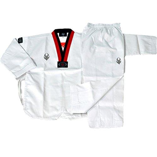 SANGA Combatiente de Taekwondo de Corea Uniforme poom dobok Escote en v poomsae y Entrenamiento para Hombre 110 (Altura 100-110) (3.28-3.61ft) Blanco
