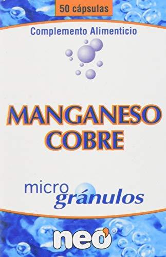 NEO | Manganeso + Cobre - 50 Cápsulas | Complemento Alimenticio Natural y Vegano para Reforzar la Memoria y Disminuir el Cansancio | Oligoelemento de Alta pureza | Tomar 1 o 2 Cápsulas al Día