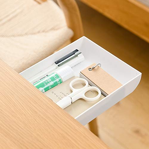 XYZLH Under Table Drawer,Under Desk Holder Storage Box,Hidden Self-Adhesive Pencil Tray Drawer,Stationery Pencil Storage Drawer Organizer for Office/School/Kitchen (1 Pack White)