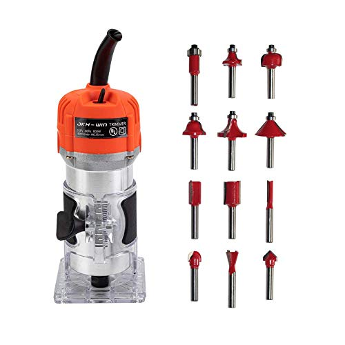 "jkh-Win 110v 800W Electric Hand Trimmer Wood Router Palm Router with 12PCS 1/4"" Router Bits Woodworking Joiner Cutting Palmming Tool 30000R/MIN"