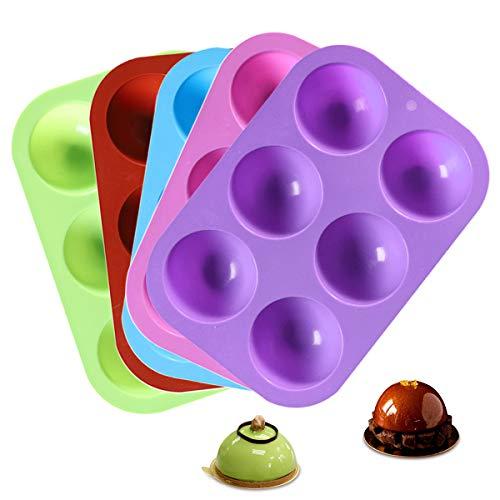 Molde Silicona Reposteria, 5 PCS Moldes de Silicona Semiesfera 19 * 3 * 2,5 cm para Chocolate sin BPA Antiadherente para Horno Pasteles Jabones Caramelos Gelatina Mousse de Cúpula