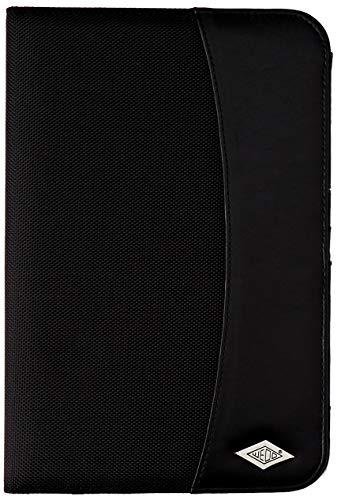 Wedo - Organizador (tamaño A5, piel sintética, tarjetero, sujeción para bolígrafo, departamento para documentos), color negro