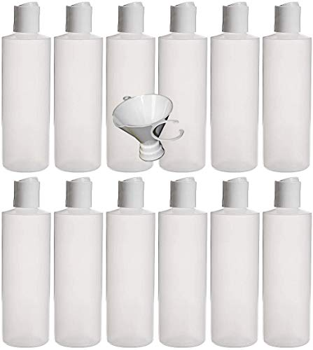 Earths Essentials Twelve Pack of Refillable 8 Oz. Squeeze Bottles with One Hand Press Cap Dispenser Tops-Great for Dispensing Lotions, Shampoos and Massage Oils.