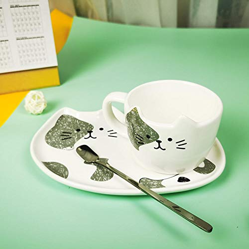 LongBin Ceramic Coffee Cup Sets Cartoon Cat Pattern Tea Cup Dessert Plate Outfit Creative Cute Coffee Cup and Saucer Set Give Away Spoon-Unilateral_Gray_Cat