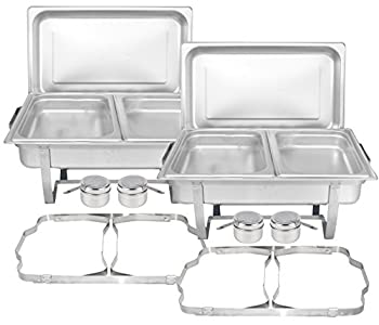 TigerChef Food Warmer - Chafing Dish Buffet Set - Chaffing Dishes Stainless Steel - 2 Chafer and Buffet Warmer Sets with Half Size Steam Pans and Folding Frame - Food Warmers for Parties Buffets