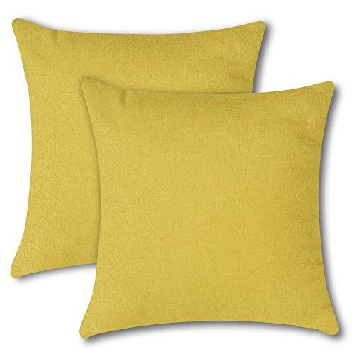 Soleebee クッションカバー 45×45CM 北欧 防水 無地 装飾枕カバー ソファ背当て 座布団カバー 2枚セット (イエロー)