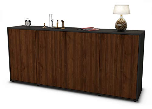Stil.Zeit Sideboard Elana/Korpus anthrazit matt/Front Holz-Design Walnuss (180x79x35cm) Push-to-Open Technik