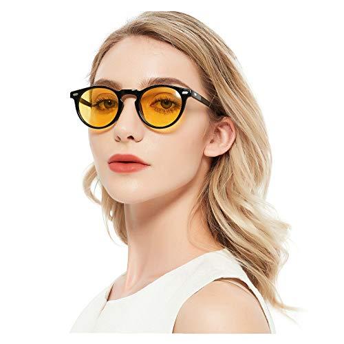 ELIVWR Occhiali da Guida Notturni per Uomo Donna Occhiali da Vista Rotondi ed Eleganti per la Visione Notturna Protezione UV al 100%