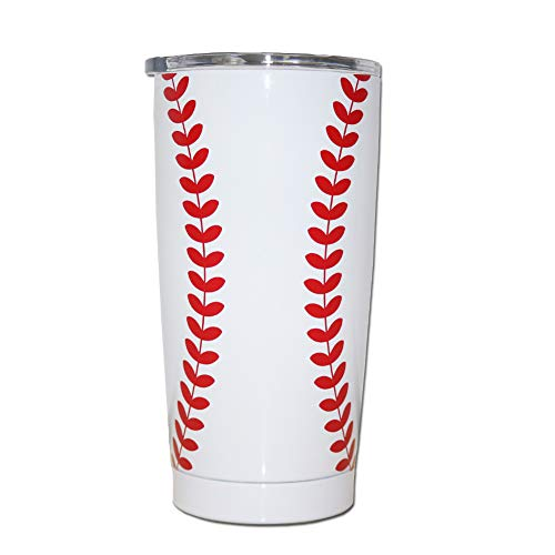 Baseball Tumblers Cup 20 OZ Stainless Steel Mugs Sports Travel Coffee Mug with Lid Double Wall Insulation Tumbler for Ice Drinks Hot Beverage Baseball Fans Gift