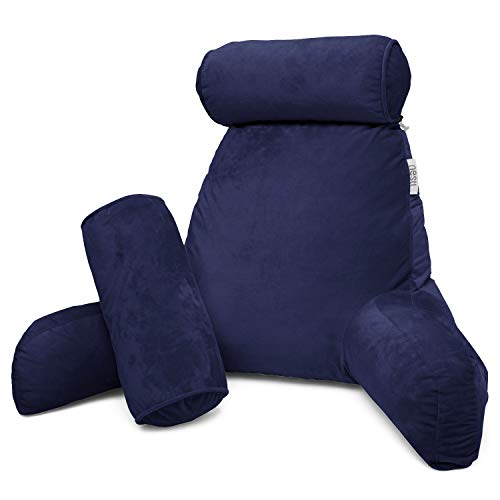 Nestl Reading Pillow, Includes 1 Extra Large Bed Rest Pillow with Arms + 2 Detachable Pillows - Premium Shredded Memory Foam TV Pillow, Neck Roll & Lumbar Support Pillow - Set of 3 - Navy Blue