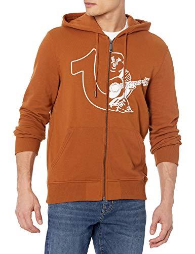True Religion Half Logo Long Sleeve Zip UP Hoodie Felpa Intera, Caramello, M Uomo