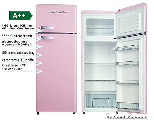 Schaub Lorenz Retro Kühl-Gefrierkombination Pink 145cm Kühlschrank 212Liter