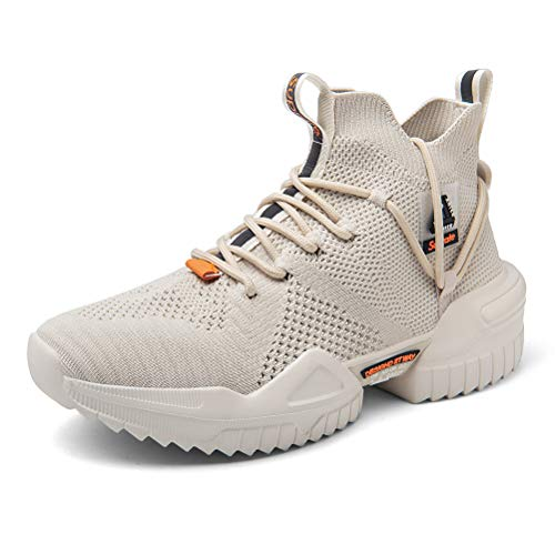 Ahico Men Walking Shoes Fashion Sneaker Running Athletic Non Slip Platform Socks Shoe Stylish Casual Fitness Comfortable Sports Beige