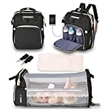 Diaper Bag Backpack, 3 in 1 Baby Bag, Portable Multifunctional Backpack forBoys Girls, Waterproof Changing Pad& Insulated Pockets, Newborn Essentials for Diaper Organizer and Baby Bed (Black)