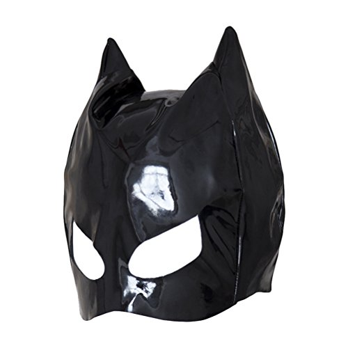 Healifty Unisex PU Leder Kapuze Maske offene Augen Gesichtsmaske Cosplay Kostüm Kopfbedeckung (schwarz)