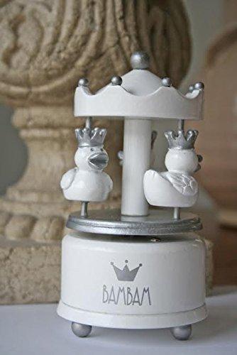 Bam Bam Duck Carrousel musical blanc et argent – Cadeau de baptême pour bébé