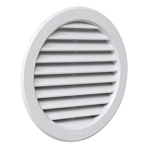La Ventilazione T16B Rejilla de ventilación redonda de plástico blanco para empotrar diámetro 190 mm