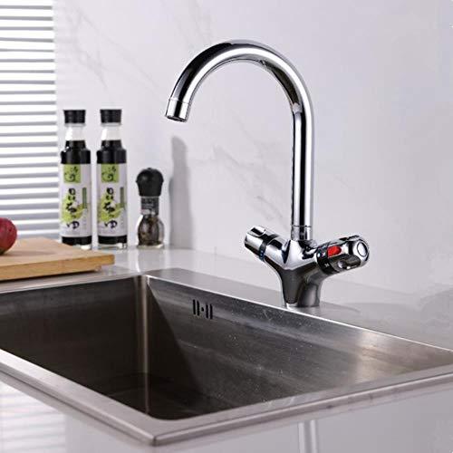 Cuanto mayor sea grifo termostático del grifo de la cocina fría y caliente mezclador de agua nariz corta manija doble grifo del lavabo acabado cromado