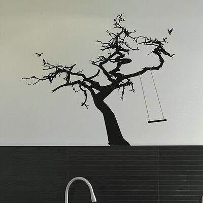 mlpnko Große Baum und schaukel wandaufkleber zweige abziehbilder Vinyl entfernbare wanddekoration Baby Kindergarten Wohnzimmer Schlafzimmer 80x70 cm