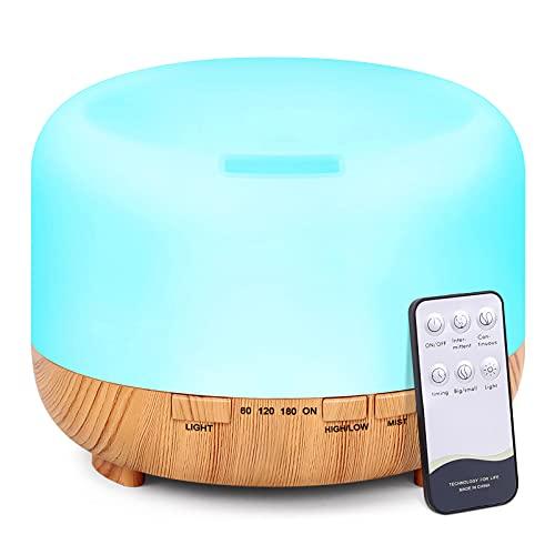 Ultrasonic Aromatherapy Essential Oil Diffuser: 500ML Remote Control Cool...