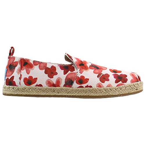 TOMS Womens Deconstructed Alpagarta Floral Slip On Flats Flats Casual - White - Size 8 B
