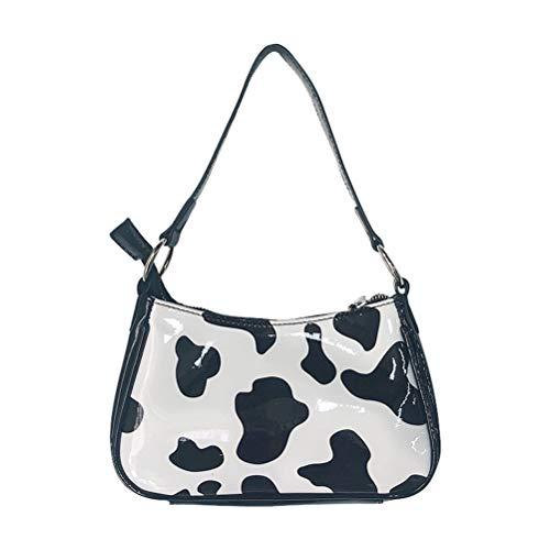 QoFina Damen Retro Baguette Geldbörse, Schultertasche Handtaschen Handbags,Umhängetasche,Cow Pattern Baguette Girl Messenger Crossbody Bag