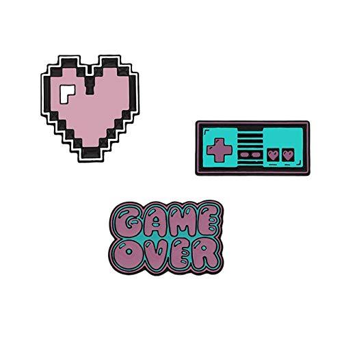 2-7Pcs / Set Lustige Emaille Brosche Cartoon Katze Pink Spielkonsole Auto Erde Pins Süße Pillen Pflaster Brief Zeichen Revers Abzeichen Schmuck-Herz Spiel,China