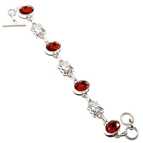 jewels paradise Hermosa pulsera de topacio místico marrón facetado hecha a mano plata de ley 925 chapada en joyería – ajustable y flexible – Pulsera de cadena de eslabones – (SF-1082)