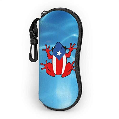 Puerto Rico PR Coqui - Funda para gafas, unisex, carcasa rígida, funda protectora para todas las gafas de neopreno ultraligero con cremallera y clip para cinturón y llavero