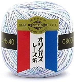 オリムパス製絲 金票 ミックス レース糸 #40 Col.M12 水色系 10g 約89m