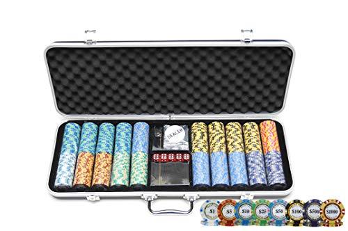 HAN'S DELTA Monte Carlo Poker Club Chip Set 14 Gram for Texas Hold'em, Blackjack, Casino Gambling with Black ABS Case, Cards, Dealer Button (Choose 300 or 500 Chips Set) (500 Chips Set)