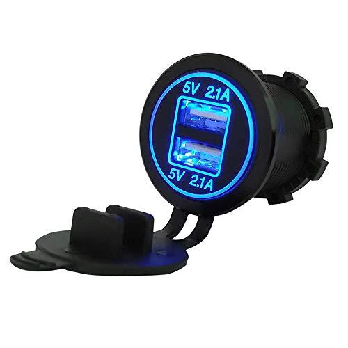 Auto Feuerzeug Neue Auto-Zubehör Zigarettenanzünder-Splitter 12V-24V 2-Port-USB-Auto-Ladegerät 5V 4.2A Ausgangs mit LED-Licht-Energien-Adapter (Color Name : Blue led)