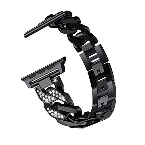 DFGH Vrouwen Dameshorloge Armband Trendy Diamond Cowboy Chains Strap Metal Link 38/42/40 / 44mm (Band Color : Black, Band Width : For 40mm)