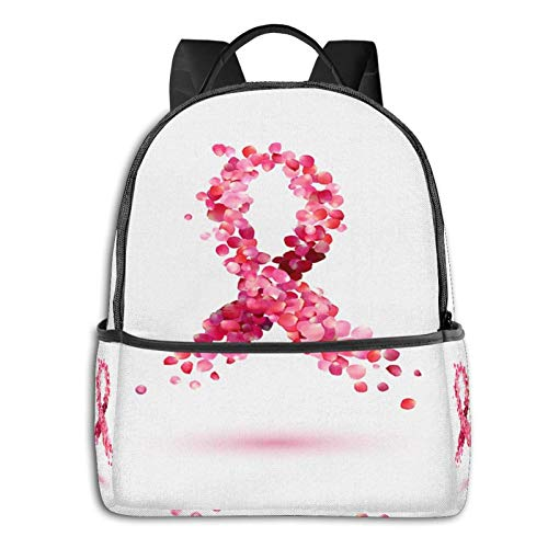 AOOEDM Backpack, Cintas Rosas para la Conciencia del cáncer de Mama, Mochila de 14 Pulgadas, Mochila de Viaje para Adolescentes, Mochila Informal para Ordenador portátil, Bonita Mochila