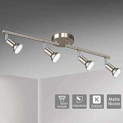 Unicozin LED 4 Light Track Lighting Kit, Matte Nickel 4 Way Ceiling Spot Lighting, Flexibly Rotatable Light Head, Modern Track Light Included 4 x LED GU10 Bulb (4W, Daylight White 5000K, 400LM)