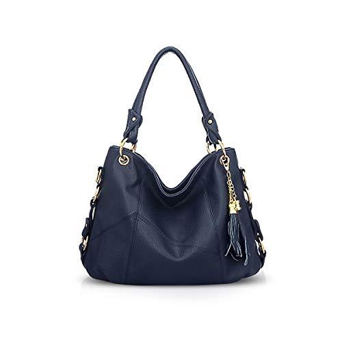 NICOLE & DORIS Damen handtasche Umhängetasche mit großer Kapazität Weiche Ledertasche shopper Neue Designer handtasche Top Griff Taschen mit Quaste blau