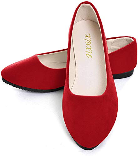 Dear Time Women Flat Shoes Comfortable Slip on Pointed Toe Ballet Flats, Classic Red, 8.5