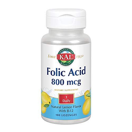 KAL Folic Acid + B-12 800 mcg   Folsäure + B 12 800 mcg   100 Lozenges