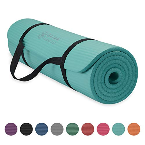 """Gaiam Essentials Thick Yoga Mat Fitness & Exercise Mat With Easy-Cinch Yoga Mat Carrier Strap, Teal, 72""""L X 24""""W X 2/5 Inch Thick"""