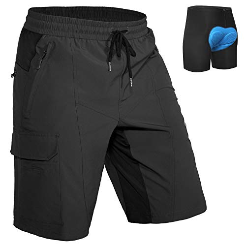 Hiauspor Mens Mountain Bike Shorts MTB Shorts with Padded Underwear Lightweight Loose-fit Cycling Drawstring Shorts (Black, L)