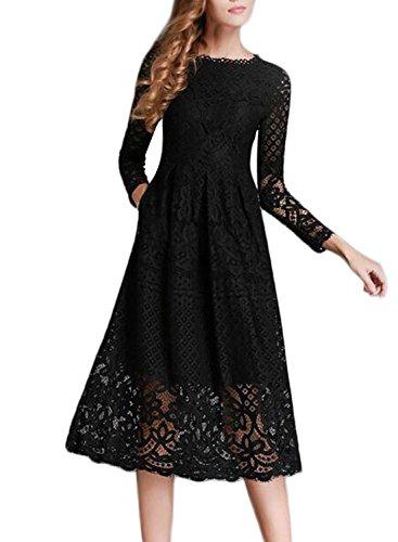 Minetom Damen Kleid Lange Ärmel Sommerkleid Spitze Elegant Abendkleid Partykleid Maxi Kleid Schwarz DE 40