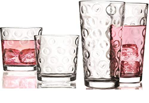 Circleware círculos juego de 16de vasos de vidrio, Set de 16piezas, 8-17ounce y 8-12ounce DOF-Refrigeradores, vasos de vidrio de edición limitada bebida tazas de vidrio