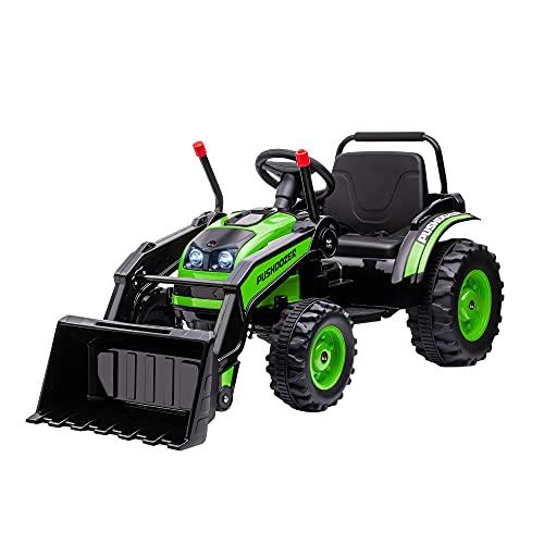 HOMCOM Tracteur électrique Enfant - tractopelle Enfants 6V - V. Max. 2,5 Km/h - Effets Lumineux sonores - Pelle Manuelle - métal PP Noir Vert
