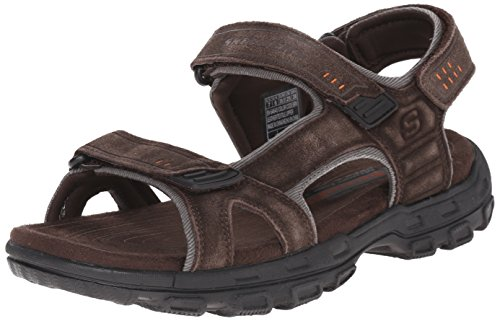 Skechers USA Men's Gander Alec Flat Sandal,Brown/Black,12 M US