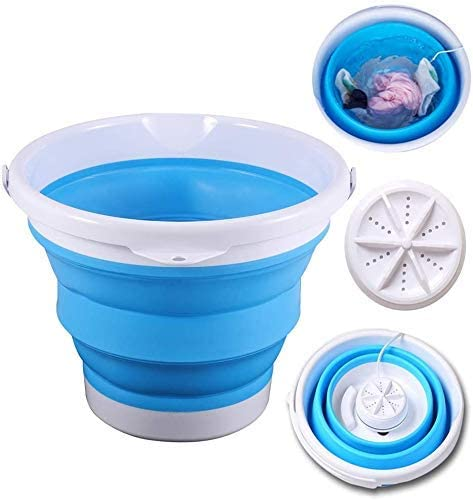 Portable Mini Tub Washing Machine Foldable Personal Ultrasonic Turbines Washer USB Convenient Laundry for Travel Home Business Trip