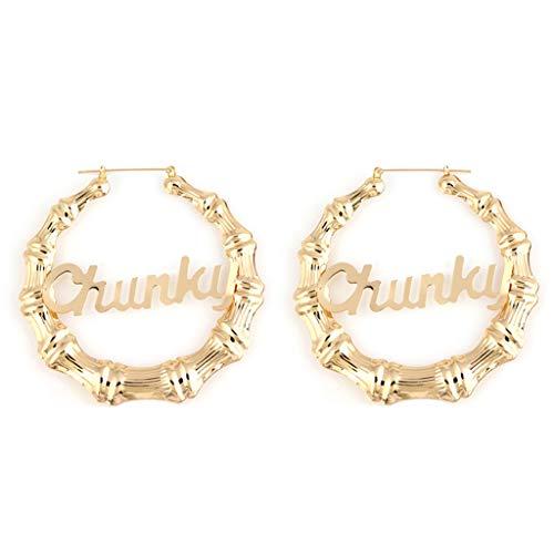 "6Wcveuebuc Fashion Big RoundWomen Acrylic Earrings ""Royalty Queen Money Melanin Chunky Boujee"" Gold Tone Hollow Casting Round Bamboo Hoop Earrings"