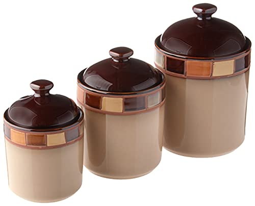 Gibson Elite Casa Estebana Reactive Glaze Stoneware Dinnerware, 3-Piece Cannister Set, Beige/Brown